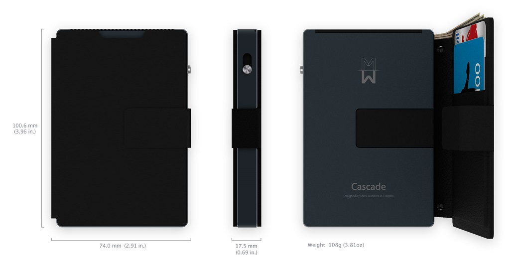 Cascade wallet Design, Sleek, Bold, Edgy, solid, durable, credit card size, patent-pending design aluminum, Cascade wallet, Color, colourful statement. trim finishes jet black, chrome or rose gold.
