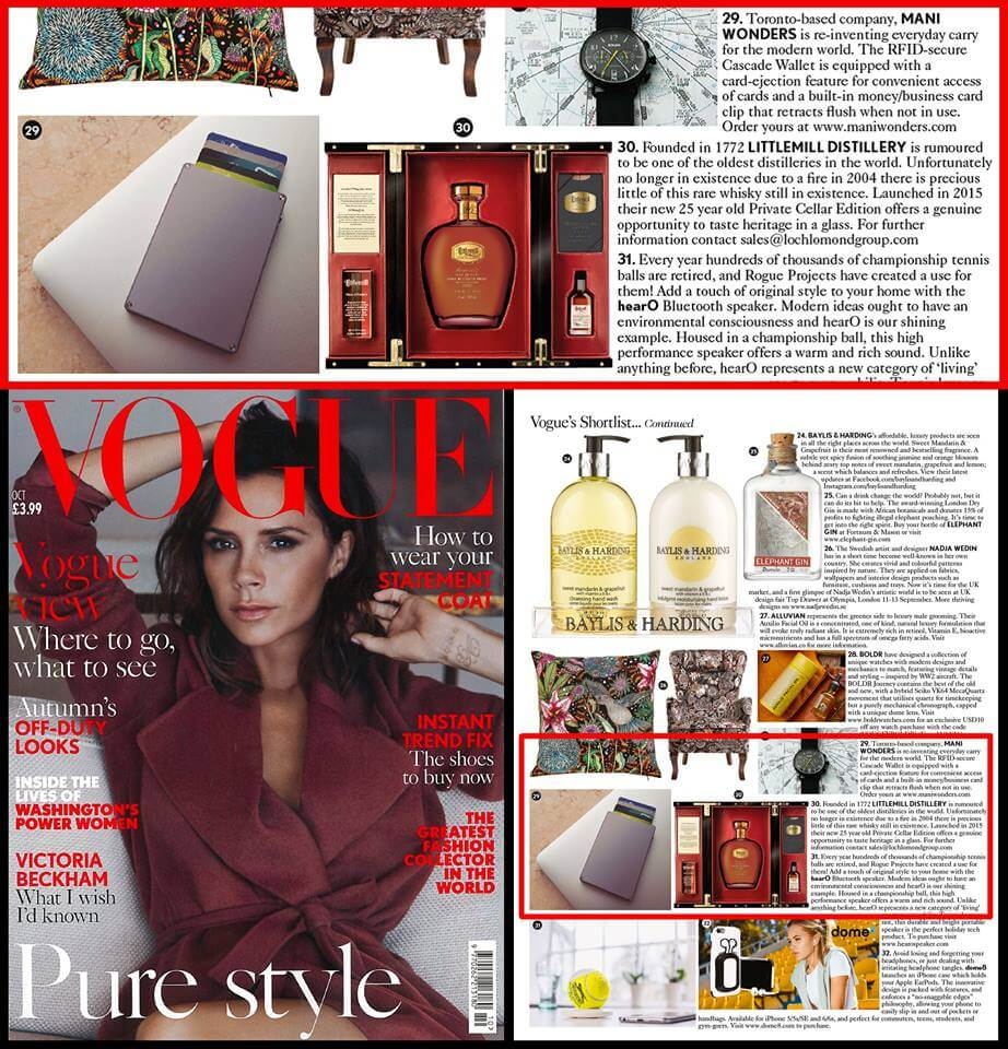 Vogue Victoria Beckham october 2016 cover- Toronto based company, Mani Wonders is reinventing everyday carry for the modern world. The RFID secure Cascade Wallet is equipped with a card-ejection feature for convenient access of cards and a built-in money/business card clip that retracts flush when not in use. Order yours at www.www.maniwonders.com.