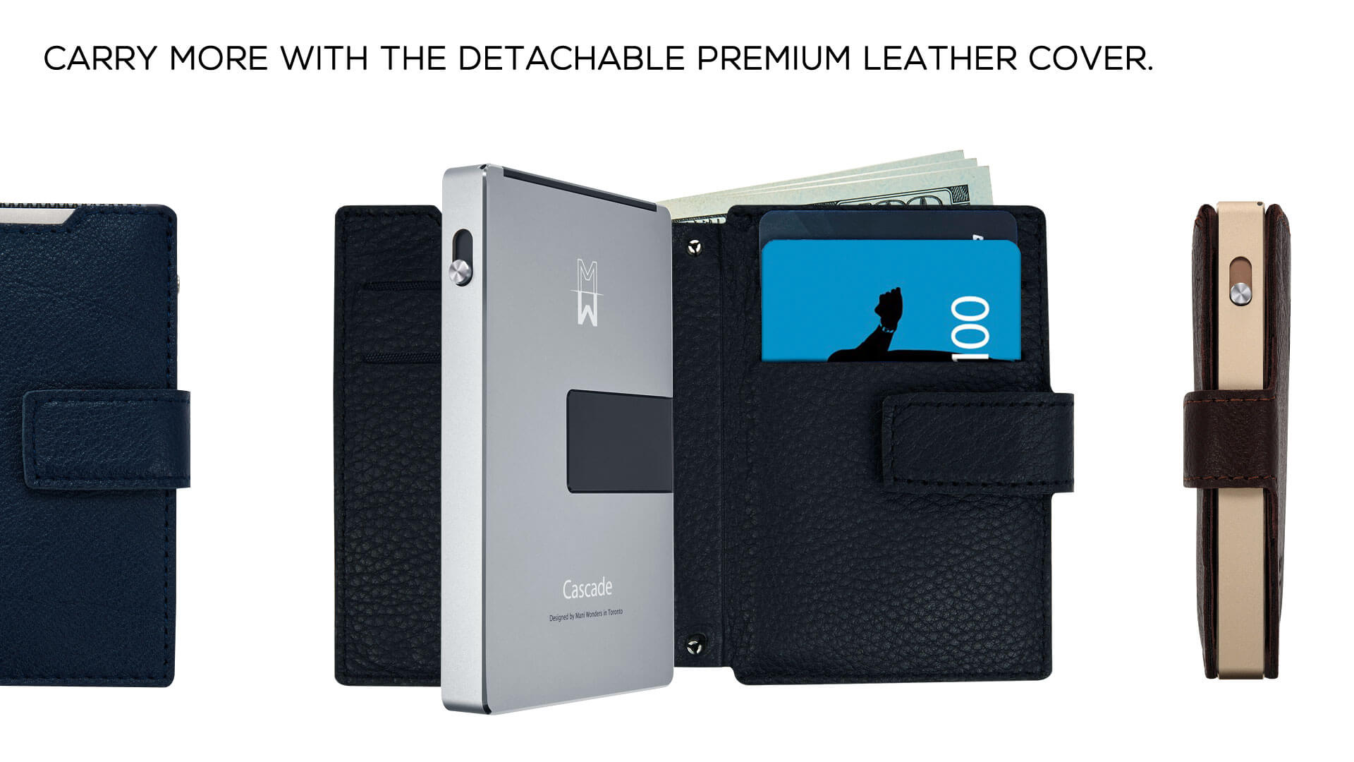 carry more with the detachable premium leather cover.