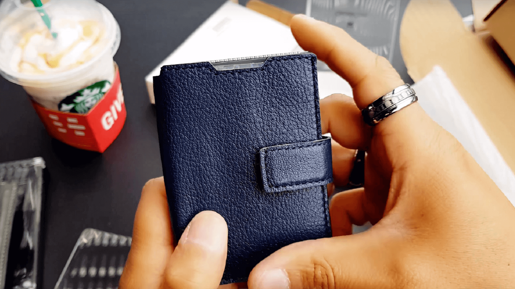 premium top grain leather cover navy