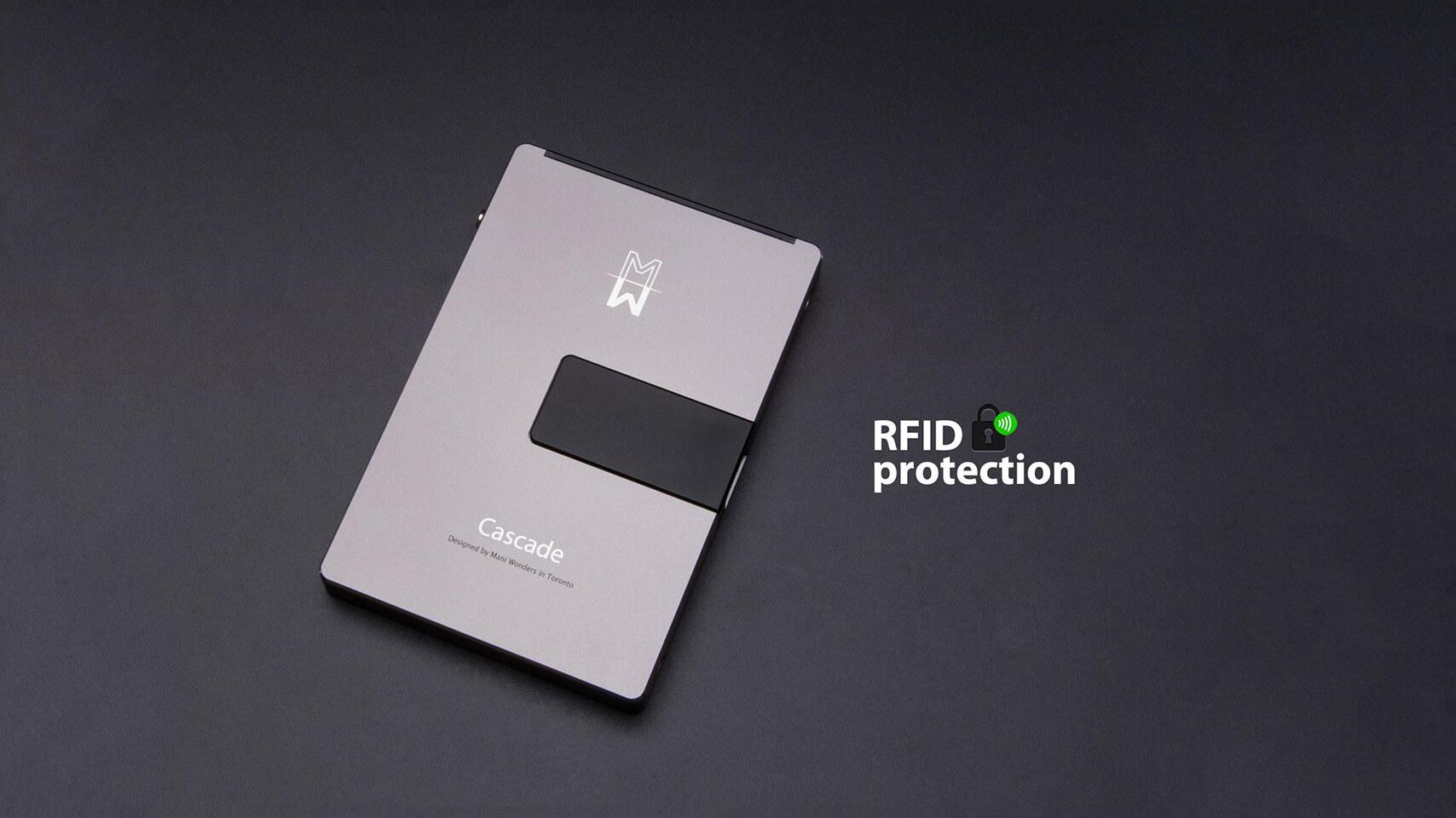 rfid cascade wallet silver
